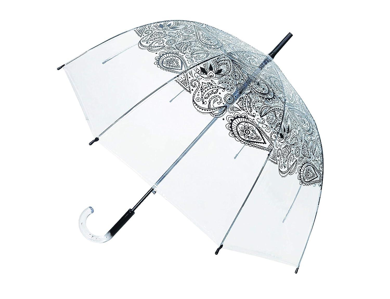 SMATI Paraguas Largo Manual Transparente Forma de Campana automático-Estampado - Estrella - Muy Sólido (Negro Cachemira): Amazon.es: Equipaje