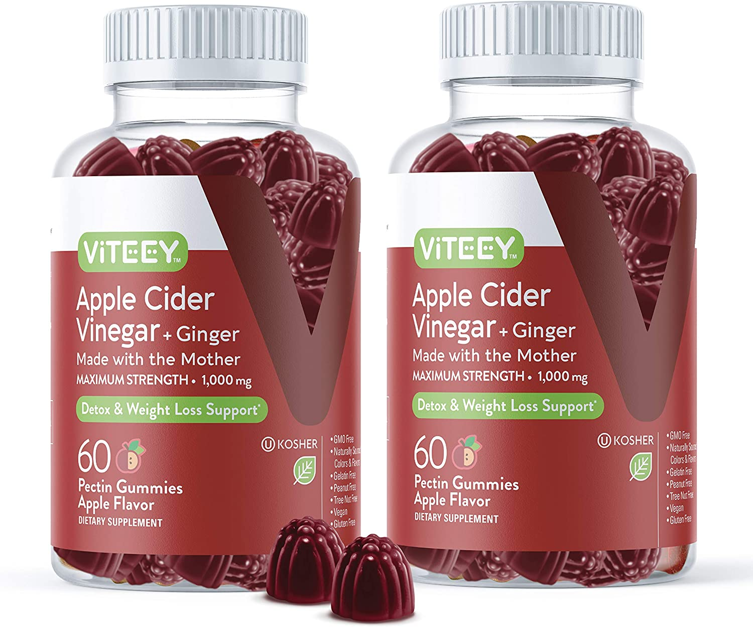 [60 Count 2 Pack] Apple Cider Vinegar Gummies Maximum Strength 1,000mg Plus Ginger, ACV With The Mother Dietary Supplement, Supports Immune Health, Detox, Cleanse, Weight loss & Digestion-Pectin Gummy