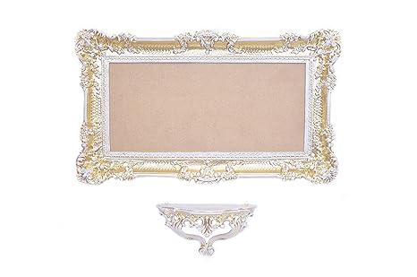 Ideacasa Set CONSOLLE + Specchio Grande Parete Oro Bianco Dorato ...