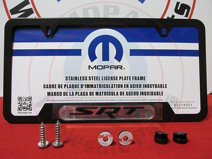 Amazon.com: Mopar Satin Black SRT Logo License Plate Frame ...