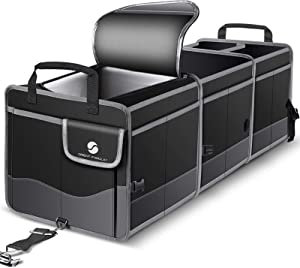 Trunk Organizer with Cooler, Collapsible Trunk Storage Container with Non Slip Bottom Strips, Large Multi-Compartment Waterproof Car Trunk Organizer Groceries for Vehicle Sedan, Suv, Truck,Van(Black)