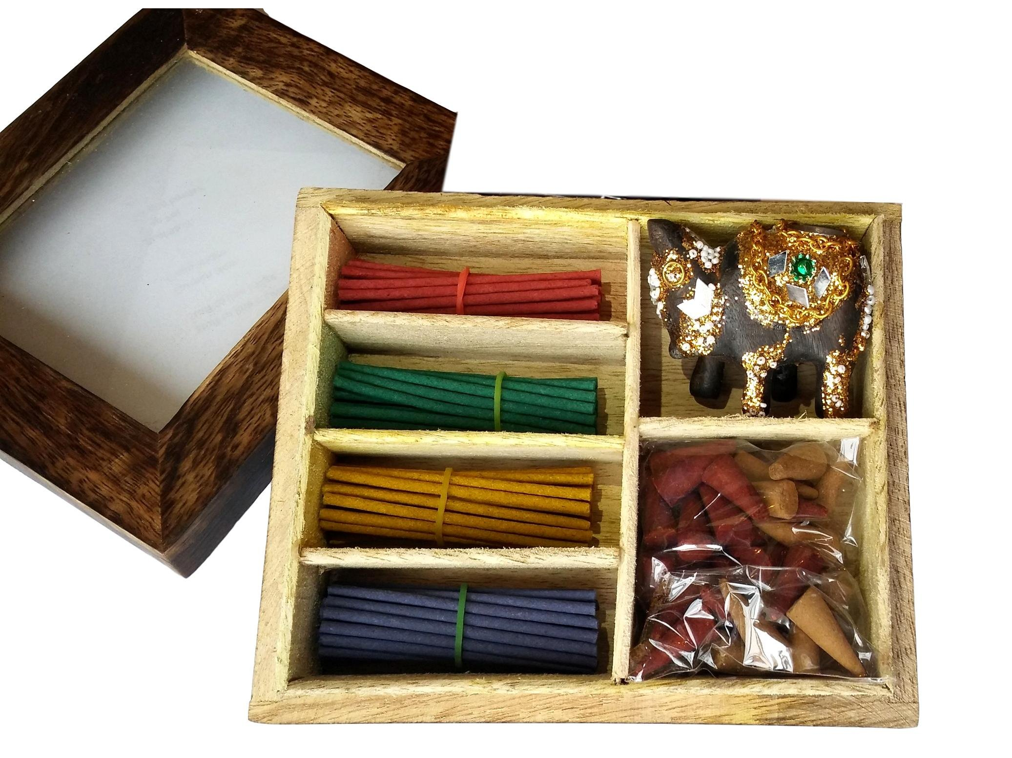 Relaxus Nirvana Incense Gift Set With Decorative Elephant holder in A Wooden Gift Box