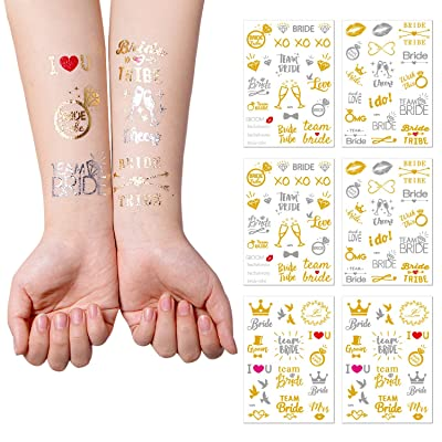 122 pcs Bachelorette Party Temporary Tattoos(6 sheets) - Gold and Silver Temporary Tattoos ,Bride Tribe,Bride