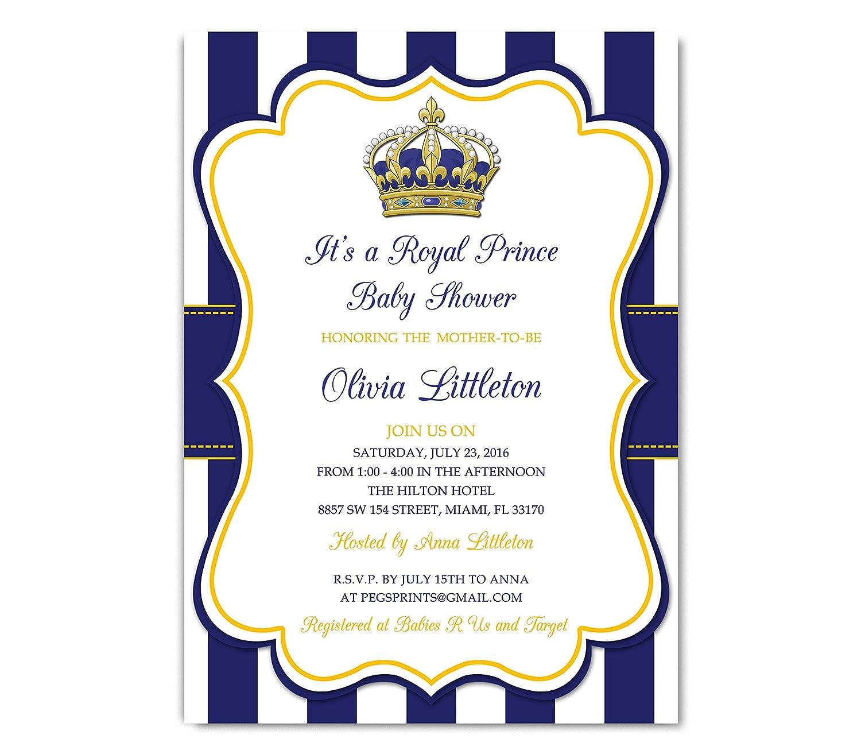 Amazon Royal Prince Baby Shower Invitation Prince Baby