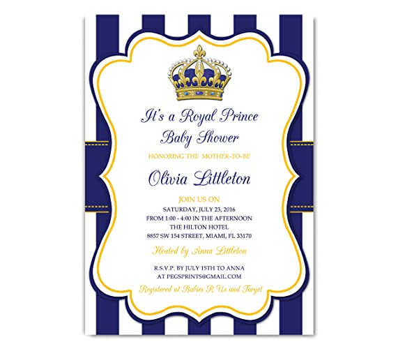 Amazoncom Royal Prince Baby Shower Invitation Prince Baby