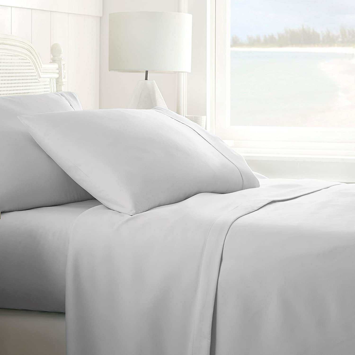 ienjoy Home Collection Premium 4 Piece Bed Sheet Set, LGRAY, FULL