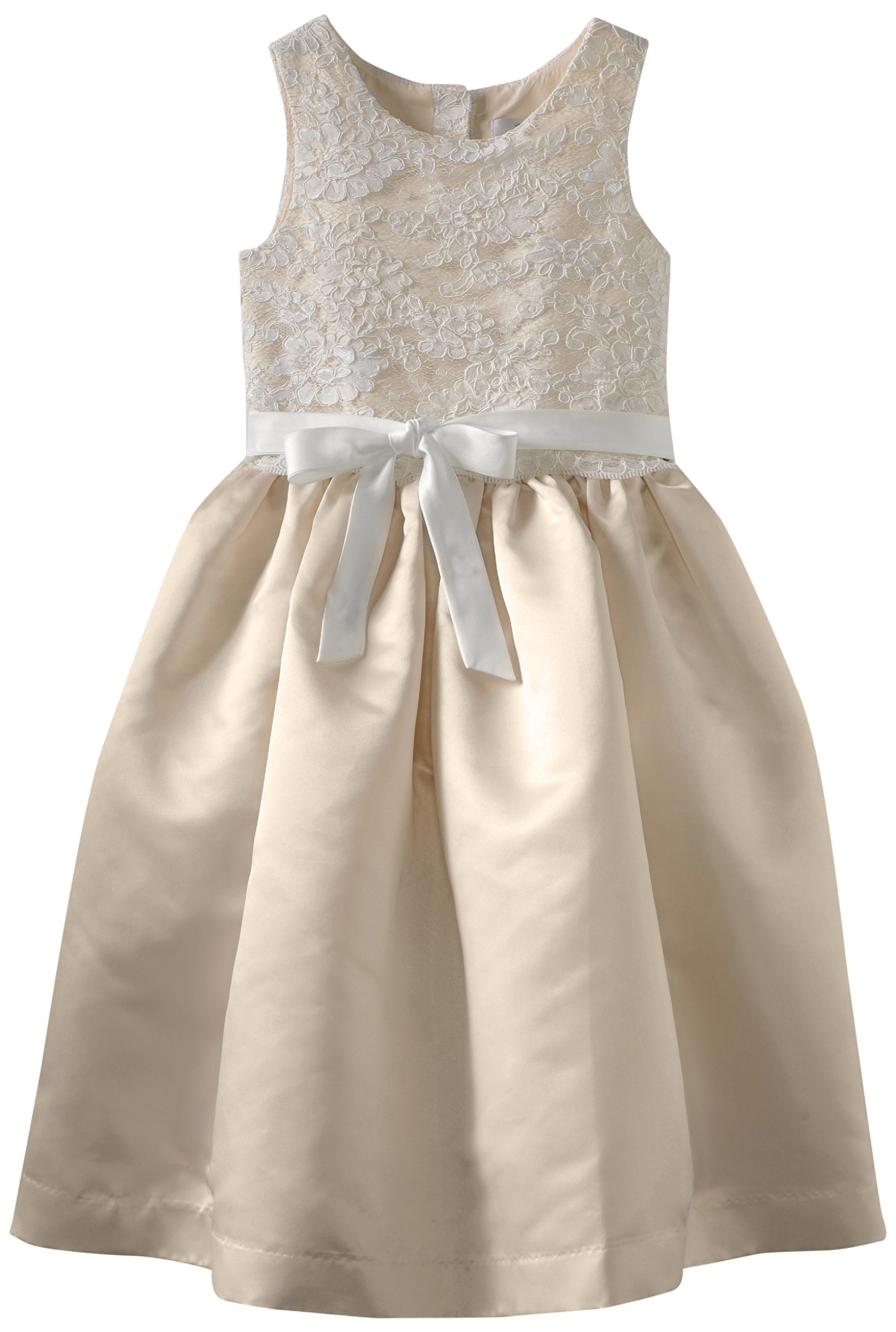 Us Angels Big Girls' Lace Overlay, Ivory/Champagne, 8
