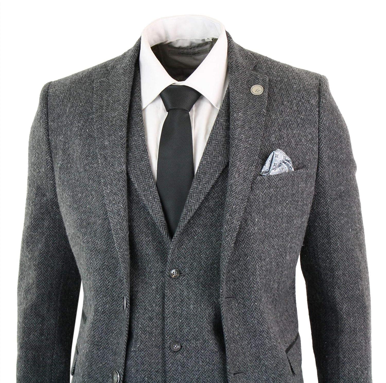 4a17e0cacb5 TruClothing Mens Grey Black 3 Piece Tweed Suit Herringbone Wool Vintage  Retro Peaky Blinders Charcoal 44