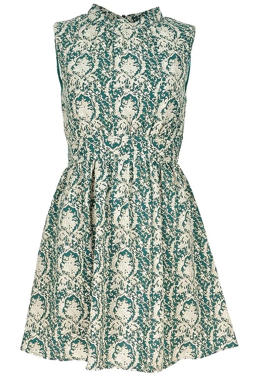 Damen-ärmellose grüne königliche Muster-Print Kleid Abend ...