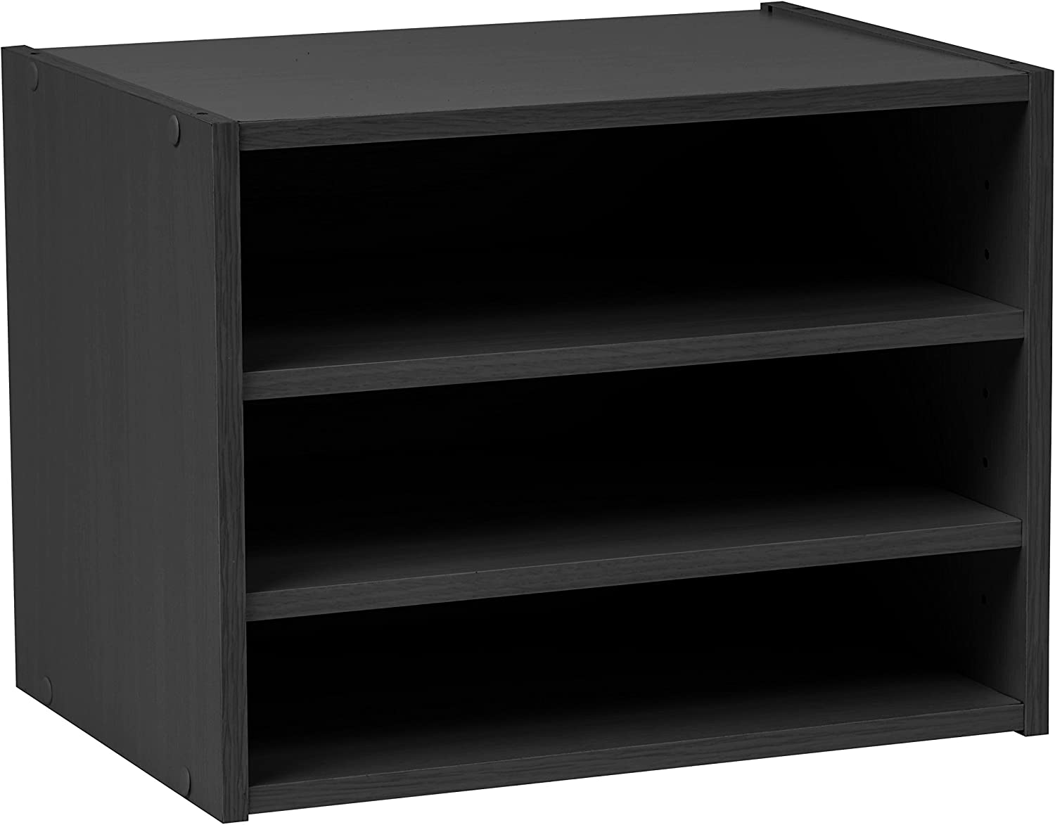 IRIS USA, SBS BLACK, Modular Wood Storage Organizer Cube Box with Adjustable Shelves, Black, 1 Pack
