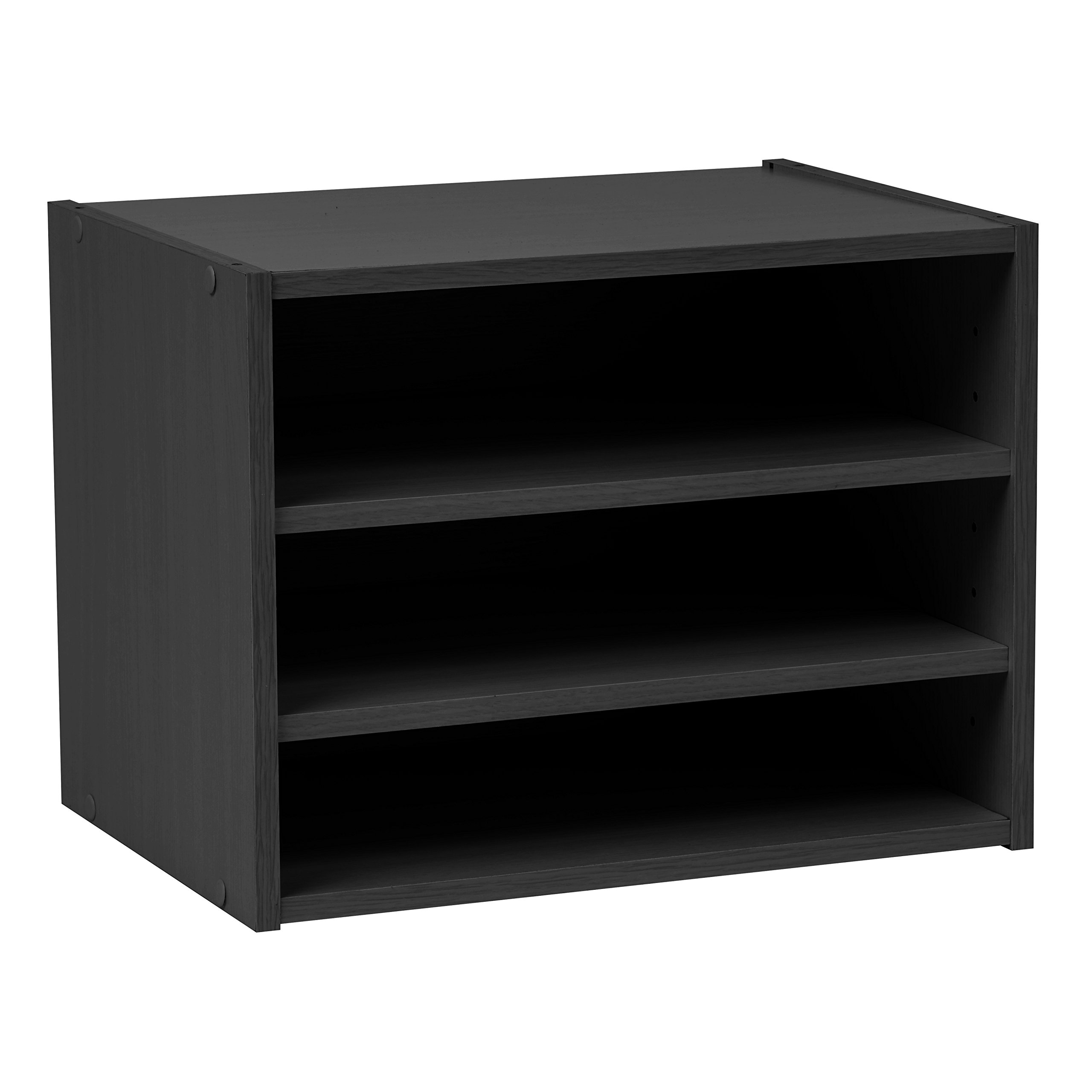IRIS USA, SBS BLACK, Modular Wood Storage Organizer Cube Box with Adjustable Shelves, Black, 1 Pack by IRIS USA, Inc.