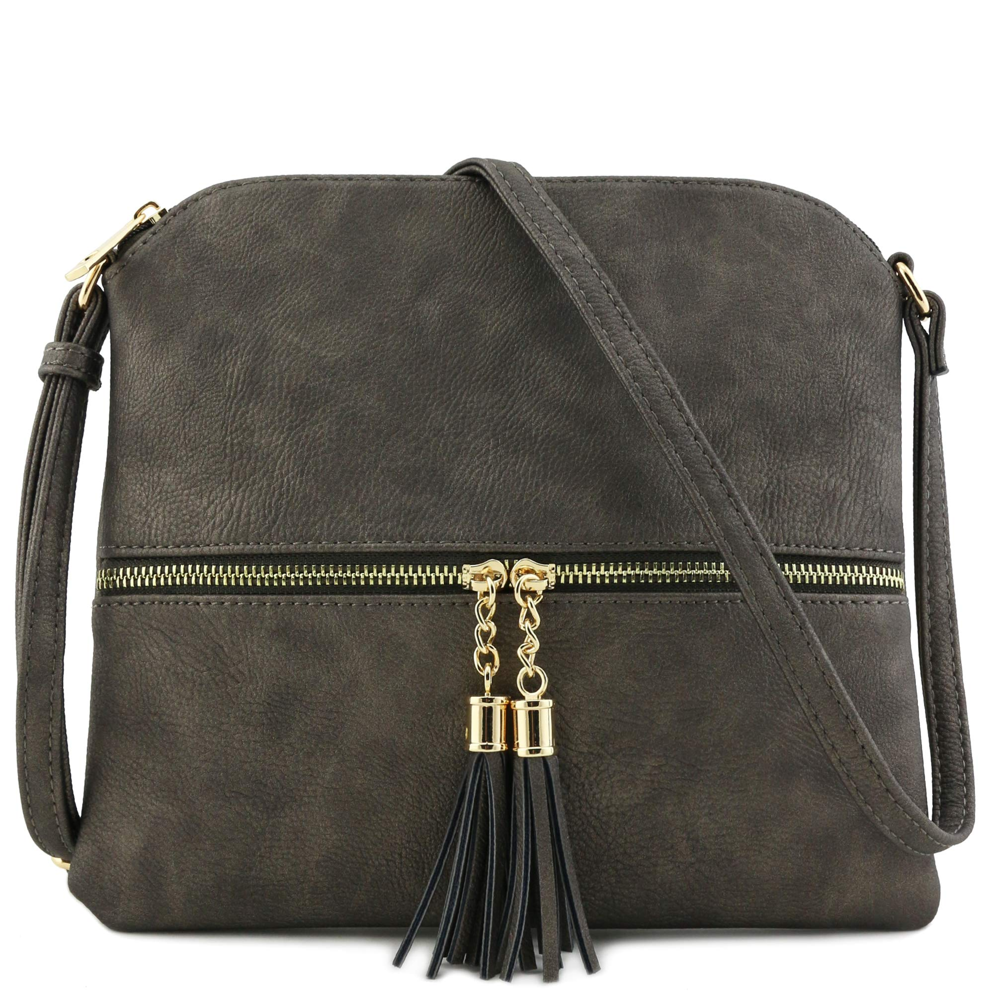 Lightweight Medium Crossbody Bag with Tassel (Pewter) by DELUXITY (Image #1)