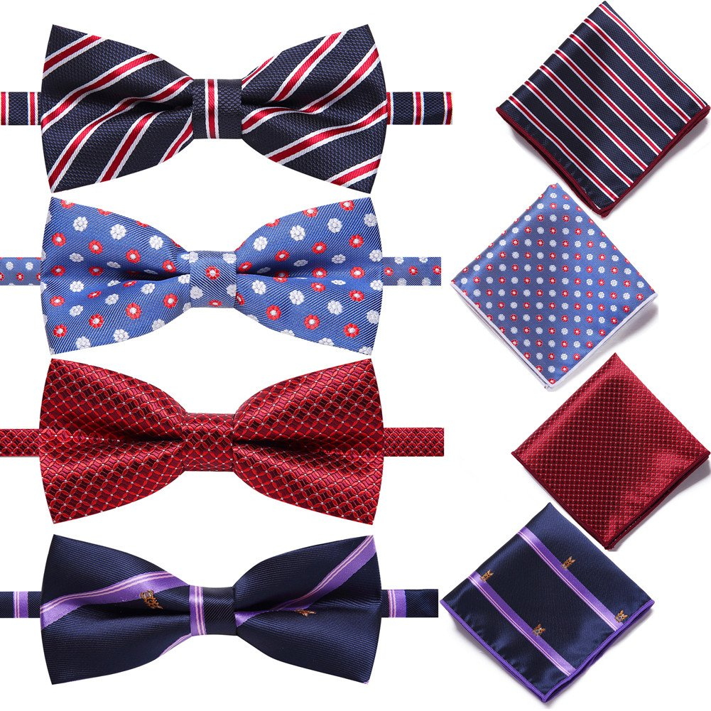 AUSKY 4 Pack Elegant Adjustable Pre-Tied Bow Tie Pocket Square Handkerchief set for Men Boys (4 PACKS A)
