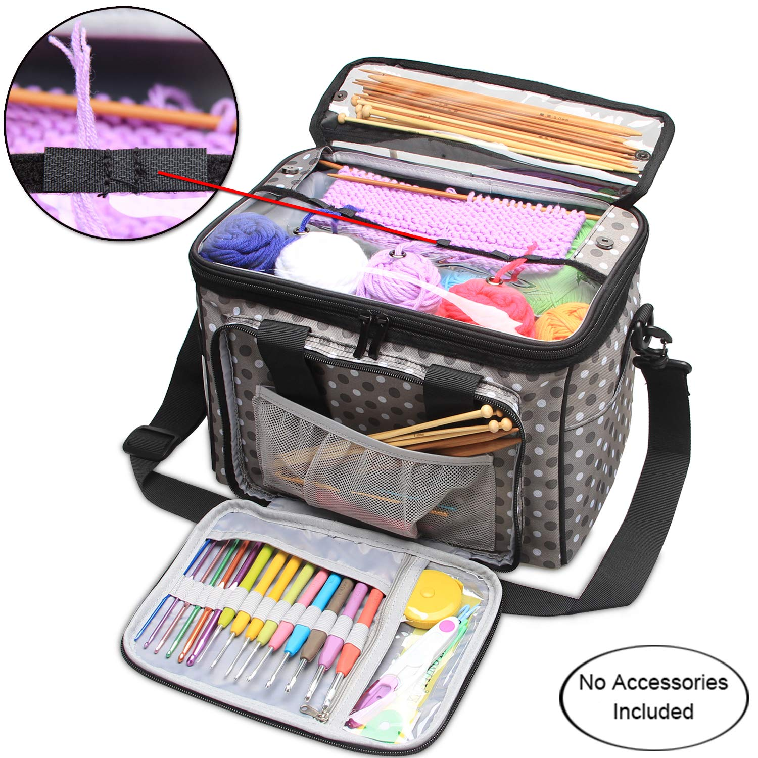 Knitting Bag Portable Tote Yarn Storage Case for Crocheting Hook Sewing Needl Ra