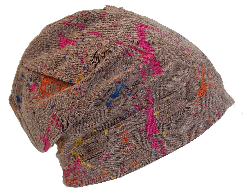 Cool4 Vintage 2 Farben Beanie Stripes Schwarz-Anthrazit Slouch Retro Mütze VSB26