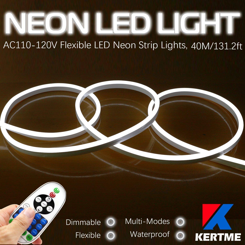 KERTME Neon Led Type AC 110-120V LED NEON Light Strip, Flexible/Waterproof/Dimmable/Multi-Modes LED Rope Light + 23 Keys Remote for Home/Garden/Building Decoration (131.2ft/40m, White 6000K)