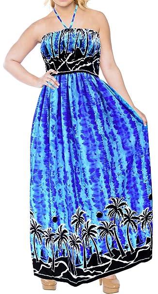 Vestido Maxi Largo Cuello Halter del Traje de baño Traje de baño Cubrir hasta la Playa de Noche Azul Royal: Amazon.es: Ropa y accesorios