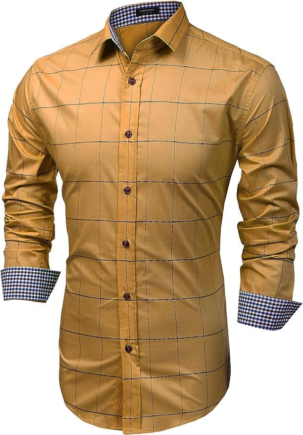 Coofandy - Camisa Casual - Cuadrados - Clásico - Manga Larga - para Hombre Weizen Large: Amazon.es: Ropa y accesorios