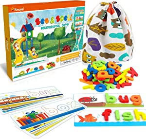 KMUYSL See & Spell Learning Educational Toys and Gift for 3 4 5 Years Old Boys and Girls - 80Pcs of CVC Word Builders, Alphabet Colors Recognition Game for Preschool Kindergarten Kids