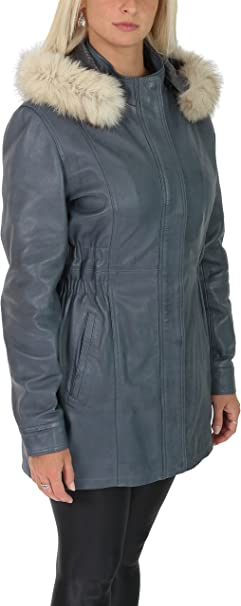 Ladies Fitted Parka Leather Coat Mid Length Detachable Hoodie Jacket Kathy Blue