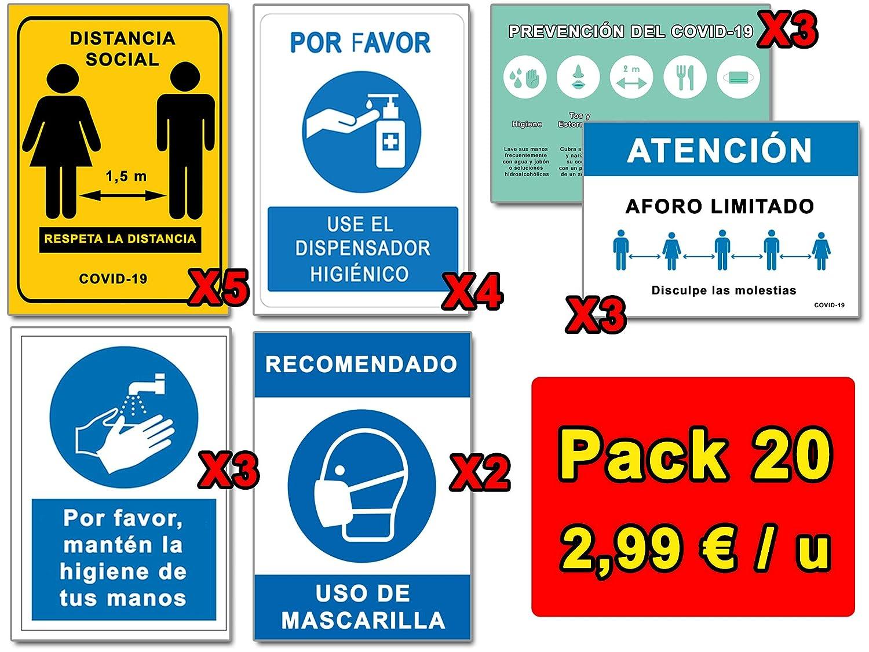 Señalización Coronavirus | Pack Ahorro 20 Señales COVID 19 | 5 Distancia, 2 Mascarilla, 4 Dispensador, 3 Pautas, 3 Higiene Manos, 3 Aforo | Carteles Autoinstalables | 21 x 30 cm | Descuentos Cantidad