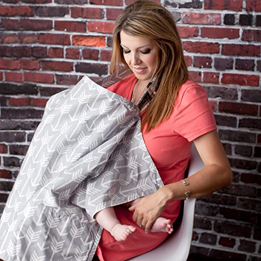 Nursing Cover with Sewn In Burp Cloth for Breastfeeding Infants