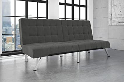 dhp emily futon couch bed modern sofa design includes sturdy chrome legs and rich velvet amazon    dhp emily futon couch bed modern sofa design includes      rh   amazon