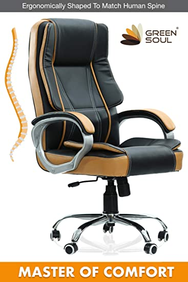 GreenSoul Vienna High Back Boss/Manager/Senior/Conference Room Revolving Office Chair (Black & Tan) (+4 Colors)