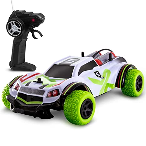 SHARPER IMAGE X Bull RC Car for Kids, All-Terrain Vehicle with  Spring-Loaded Axles and Shock-Absorbing Knobby Lime Green Tires, 6 MPH  Actual Speed, 65