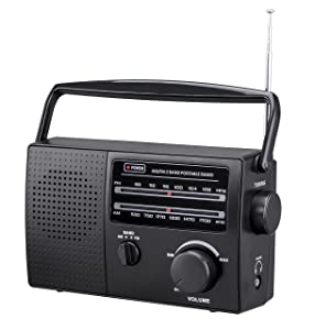 PR-137 AM/FM 2 Band Portable Radio AC Operated or Operated by Dry Battery (C Size x 4pcs, Battery not Included), Black