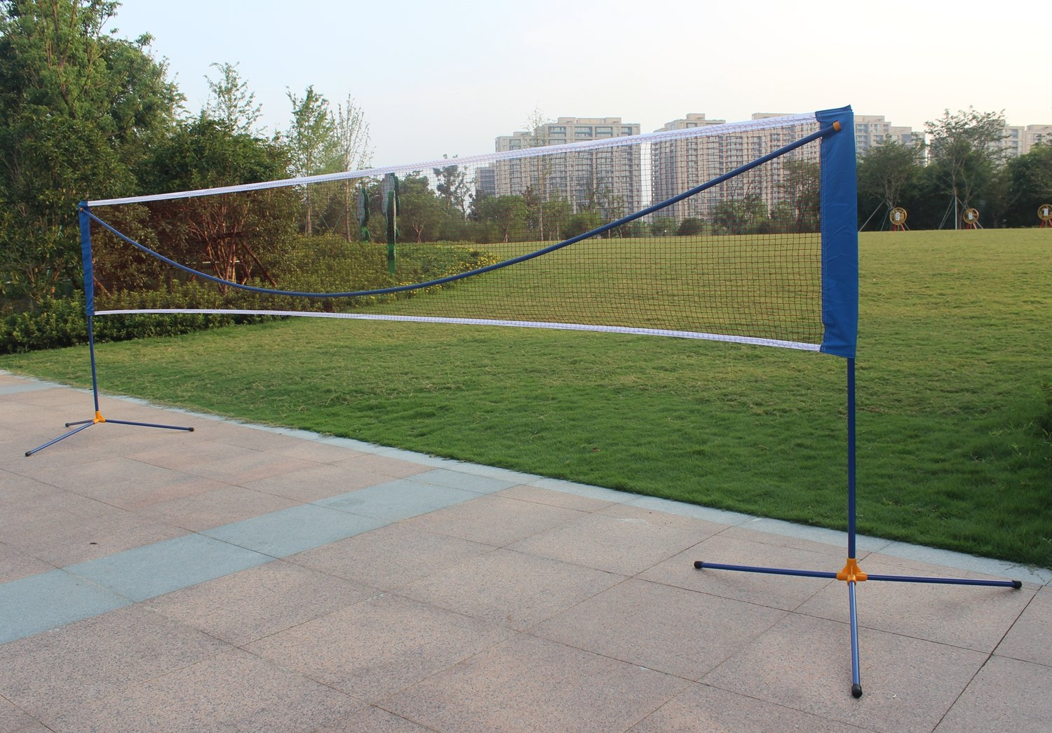 Sports God Portable Large Volleyball Badminton Tennis Net with Carrying Bag Stand/Frame (17 ft)