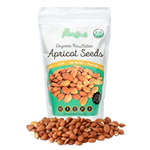 Certified Organic Bitter Apricot Seeds by My Power Seeds (1 pound bag) | Natural Source of Vitamins, Minerals & Omegas 3 & 6 - Vitamin B17 Rich - Raw - 100% Non GMO, Vegan - Made in Turkey