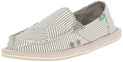 Sanuk Women's Donna Polo Flat, Olive Grey/White, ...
