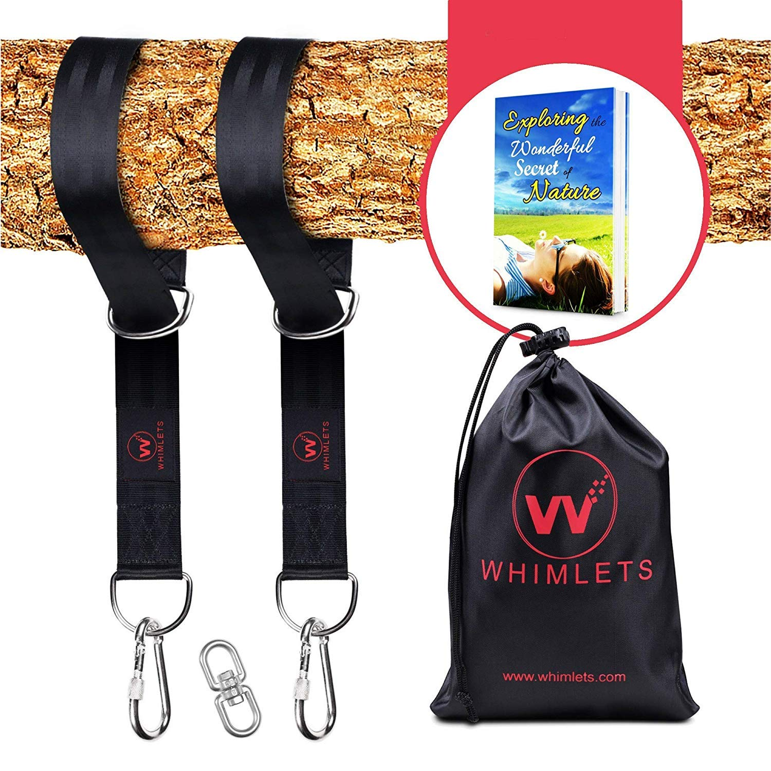 Whimlets Tree Swing Straps Hanging Kit - Two Straps Extra Long with Safer Lock Snap Carabiner Hooks - Perfect for Tree Swings & Hammocks - Easy and Fast Installation by Whimlets