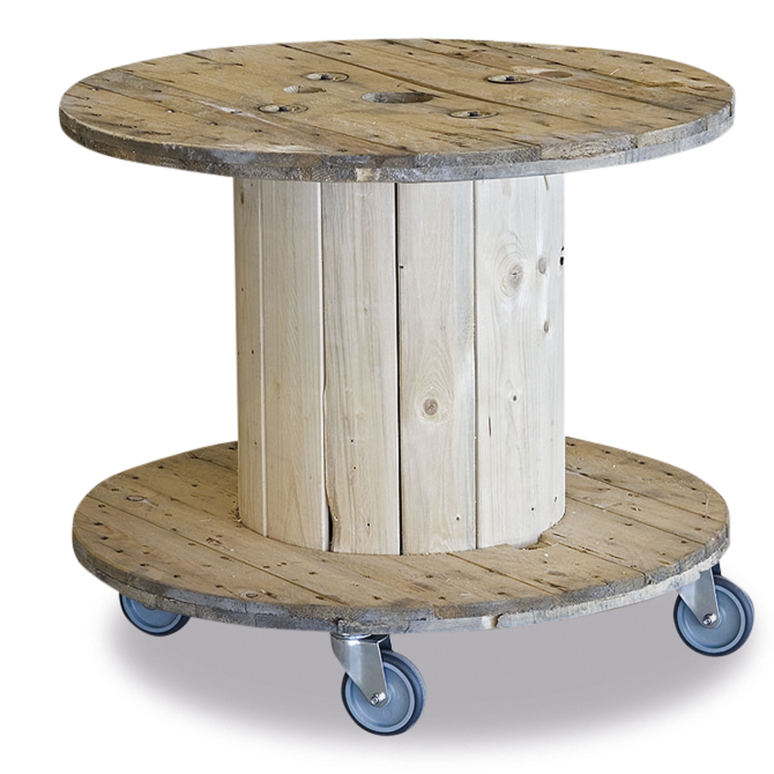 The Rustic Cable Table, Vintage, Repurposed, Recycled, And Reclaimed Pine, Castors, European, Occasional Accent Table, 31½ Diameter x 28 Inches Tall, By Whole House Worlds.