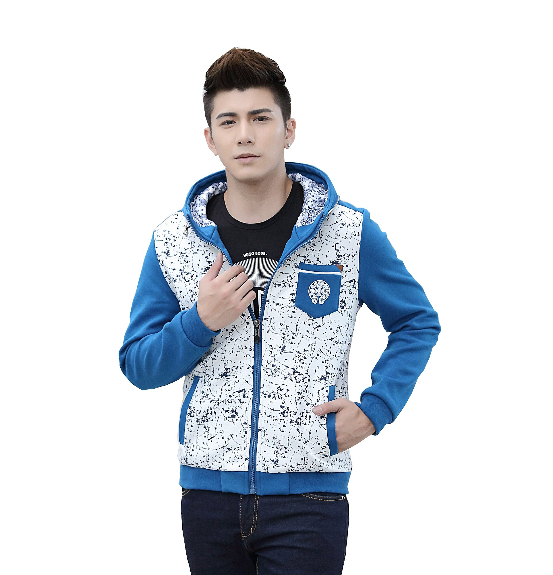 Colorfulworldstore Colorfulworldstore Young Men sweater coat-Korean fashion Boy's printing long-sleeved sweater (XL-Boys-114cm Bust, denim blue)