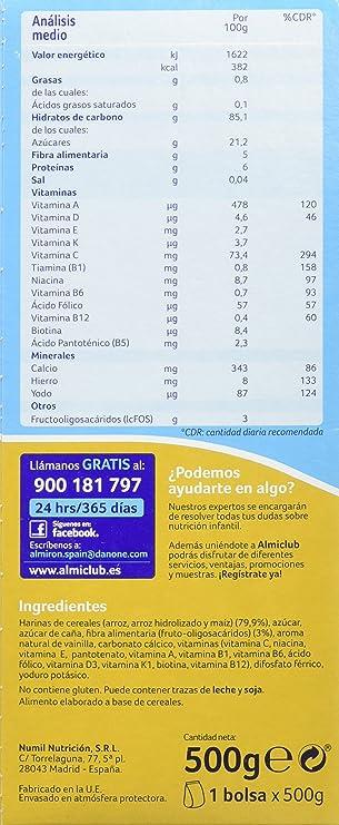 Almirón Advance Cereales sin gluten - 500 gr - Paquete de 4 x 500 ...