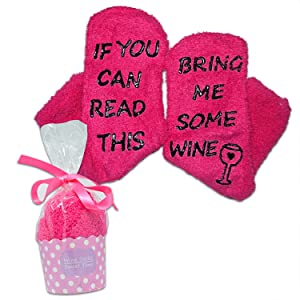 Luxury Wine Socks with Cupcake Gift Packaging: Gifts for Women with If You Can Read This Bring Me Some Wine Phrase - Funny Wine Accessory for Her - Present for Wife and Women (Very Berry Pink)