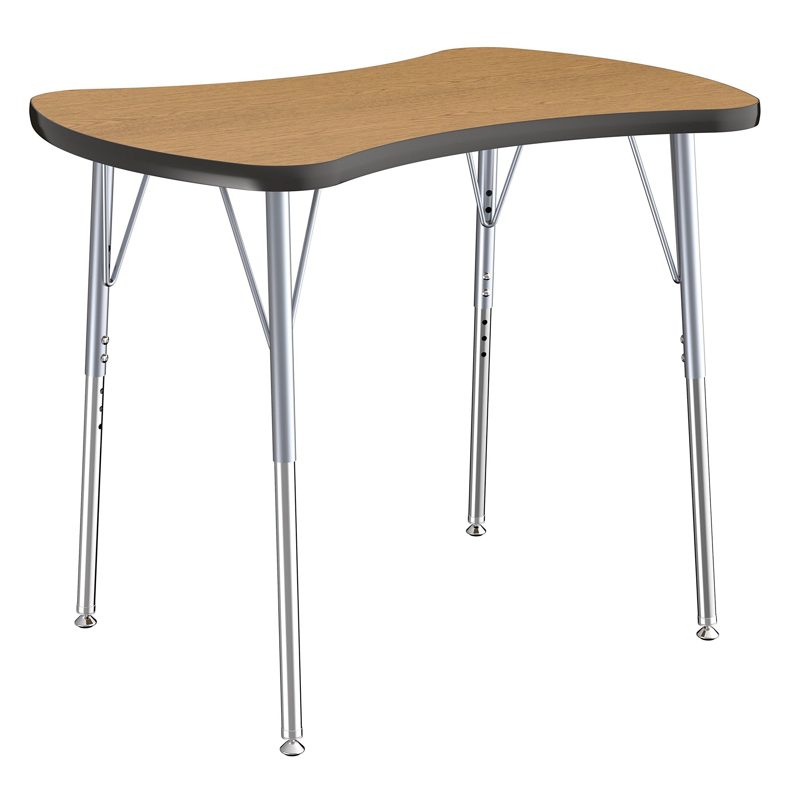 ECR4Kids Contour Bowtie Activity School Table, Standard Legs w/ Swivel Glides, Adjustable Height 19-30 inch (Oak/Black)