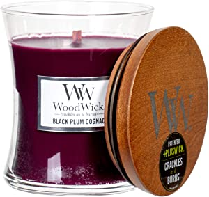 WoodWick Black Plum & Cognac Scented Hourglass Crackling Wooden Wick Candle in Clear Glass Jar, Medium - 9.7 Oz