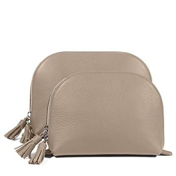07486800c6 Image Unavailable. Image not available for. Color  Clamshell Makeup Bag Set  - Full Grain Leather Leather - Ginger ...