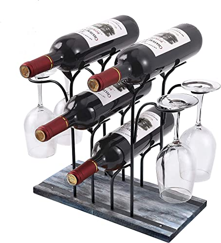 Rustic Countertop Wine Rack Holder-Wood Glass Storage Cabinet Stand-Holds 4 Glasses Bottles on Bar Table-Modern Small Organizer