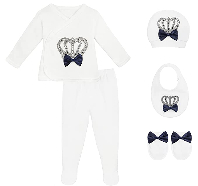 Amazon.com: Lilax Baby Boy Newborn Crown Jewels Layette 5 Piece Gift ...