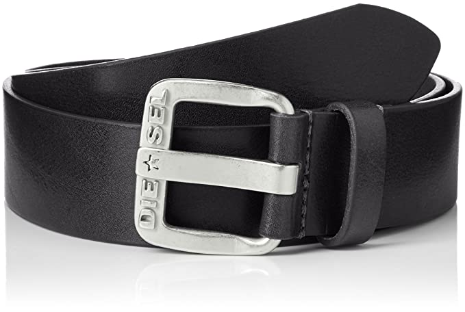 Diesel Men Belt B-Star Leather Belt with Buckle - Black: : 85 cm