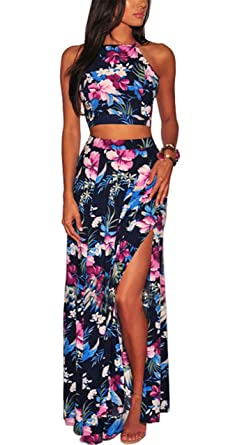 2019 New Style Print Floral Sexy 2018 Women Summer Halter Maxi Sundress Backless Vintage Beach Dress Volume Large Women's Clothing