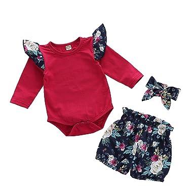 04ef9c1ab3d3 Amazon.com: Infant Baby Girls Ruffle Long Sleeve Romper Jumpsuit with Floral  Bubble Shorts Headband Set 3pcs 0-18M: Clothing