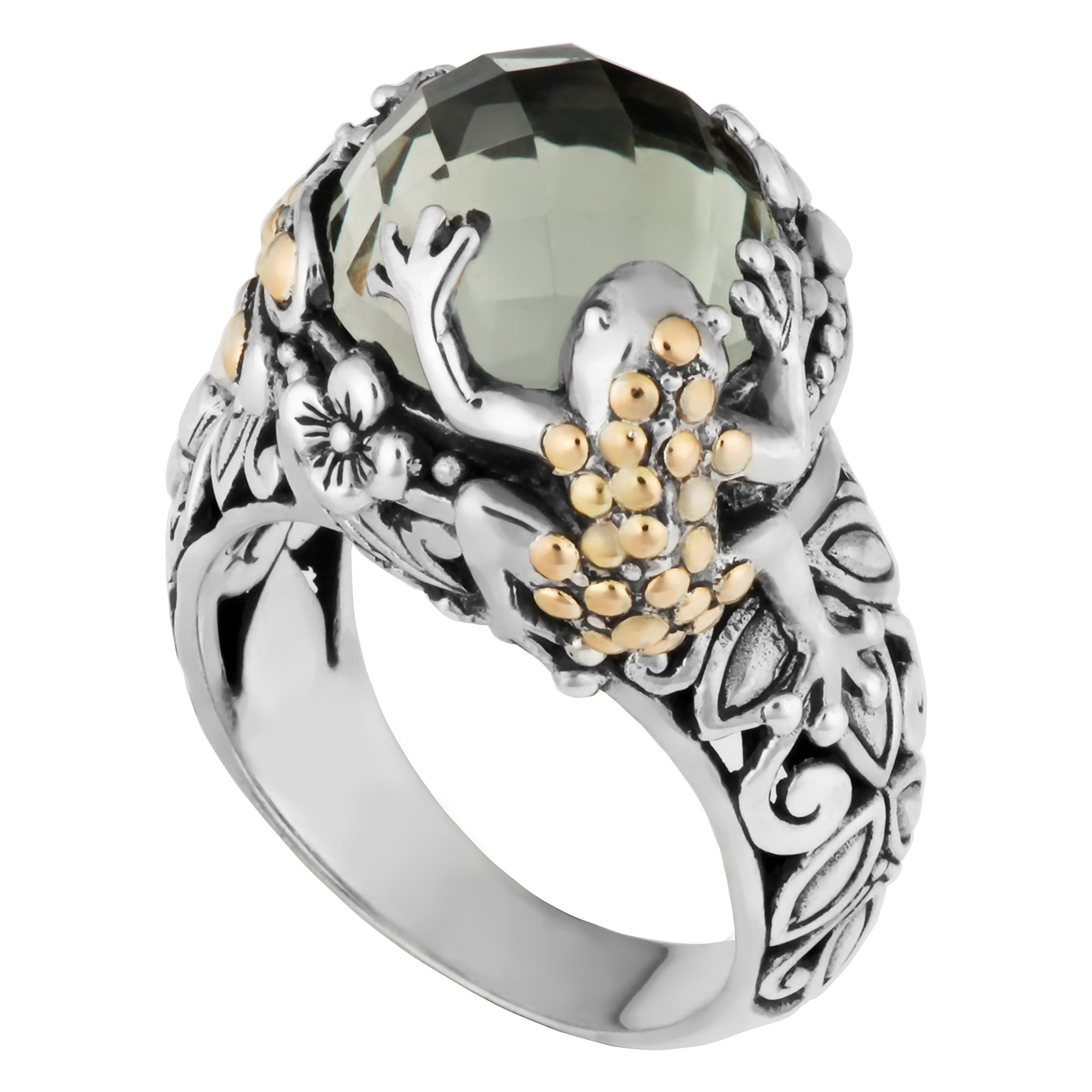 Artisanica 18 Karat Yellow Gold And Sterling Silver Green Quartz Tropical Frog Dragonfly Ring
