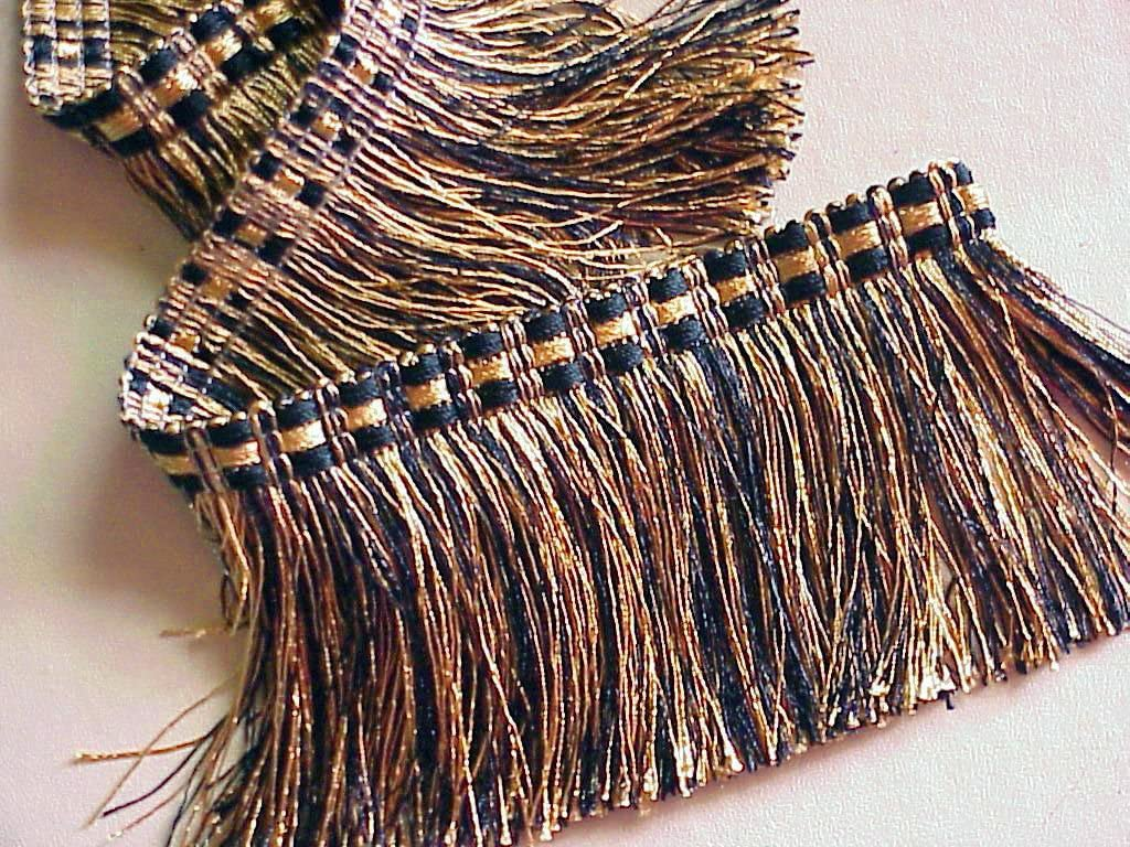 3 1//2 Black and Gold Cut Brush Fringe Trim ~ 5 YARDS