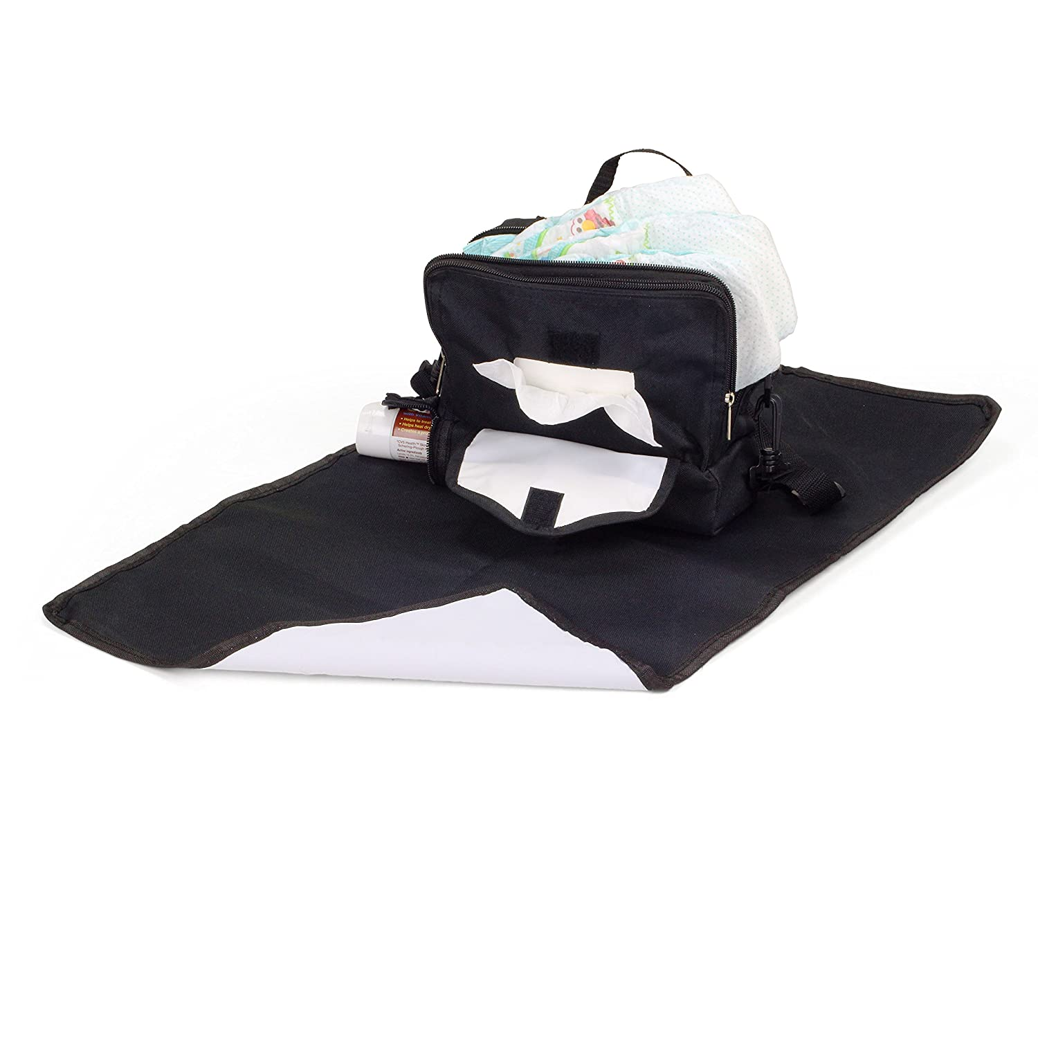 Diaper On-The-Go Baby Diaper Changing Bag Black ChangePal Waterproof Mat /& Shoulder Straps Includes Lined 3 Compartments Baby Wipes /& Portable Changing Pad Compartments
