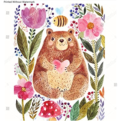 KwikMedia Illustration: Adorable Bear in Watercolor Technique. Beautiful Card with Cute Little Bear.: Home & Kitchen